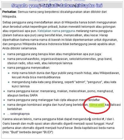 Aturan menentukkan nama pengguna dalam pembuatan akun wikipedia
